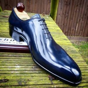 Men's Handmade Shoes Shiny Blue Leather Oxford Plain Rounded Burnished Toe Boots