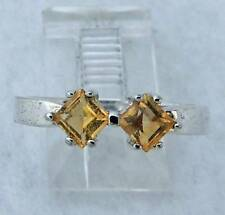 double Citrine STERLING SILVER 0.925 Estate WEDDING BAND RING size 8
