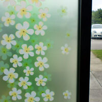 GREEN WHITE FLORAL FROSTED DECORATIVE WINDOW FILM - 90cm x 1m Roll WT034