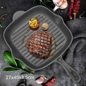 Griddle Frying Pan Grill Cast Iron Non Stick Skillet Cooking Fry Square Steak UK
