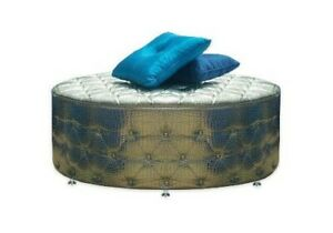 Silver Croc Round Ottoman, Tufted Ottoman, Wicked Elements