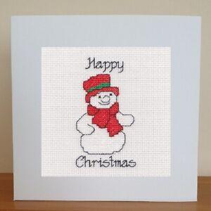 Christmas Card - Cross Stitch Kit - Snowman