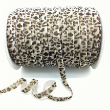 "New 5 Yards 3/8 "" Leopard Velvet Ribbon Headband Clips Bow Wedding Decoration"