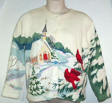 DESIGN OPTIONS M Christmas Sweater Winter Snow Church Red Birds Rare Cardigan