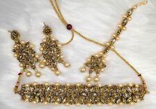 Bollywood Indian Earring Choker Necklace Maang Tikka Jewellery Set CZ AD Pearl