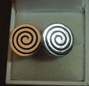 Vintage Swank Silver tone Spiral design Circle Disc Cufflinks CL 88
