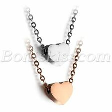 """Women's Stainless Steel Love Heart Charm Pendant Necklace 18"""" Chain Gift For Her"""