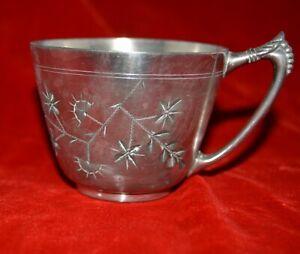 James W Tufts Boston Antique Silver Plate leaves quadruple plate teacup #1373