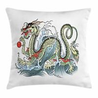 Japanese Dragon Throw Pillow Cases Cushion Covers Home Decor 8 Sizes Ambesonne