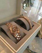 MICHAEL KORS WOMEN'S STAINLESS ROSE GOLD TONE WATCH/BRACELET GIFT SET