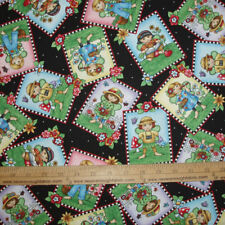 Cotton Fabric Mary Englebreit Garden Fairies tossed on black Girls Flowers BTY