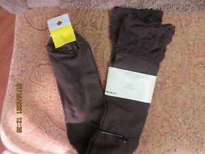 MERONA Women's Knee Hi NWT Nylon/Cotton/Spandex Dark Brown Socks Shoe Sizes 9-11