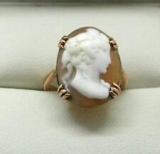 VIntage 9 carat Rose Gold Large Carved Cameo Ring Size N.1/2