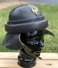 WWII Franco Spanish Tanker Leather Helmet With Eagle Insignia Badge