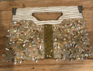 WOMEN'S IVORY GOLD BEADED SUEDE LEATHER HANDBAG PURSE POCKETBOOK