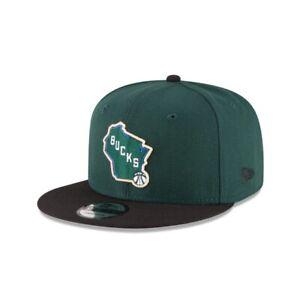 Milwaukee Bucks New Era 9FIFTY NBA Adjustable Snapback Hat Cap Flat Brim 950
