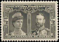 Mint H Canada VF Scott #96 1/2c 1908 Quebec Tercentenary Issue Stamp