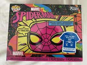 Funko Pop Tees Bundle Spiderman Black Light &Tshirt Box Set Gr. XL. Funko POP.