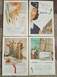 Sheaffers 1950's Snorkel and Lady Sheaffer Pens Vintage Adverts X 4