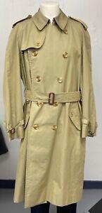 Authentic Mens Vintage BURBERRY'S Tan Trench Coat Sz 44R