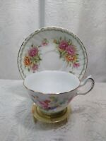 Vintage Tea Cup and Saucer Fine Bone China Regina England Roses Gold Trim EUC.