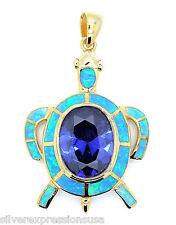 18ct chapado en oro plata de ley 925 , Azul Ópalo De Fuego & Tanzanita Tortuga