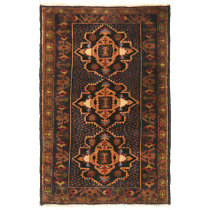 100% Wool Afghan Hand-Knotted Amazing Colorful Carpet Rug (126 x 79)cm -11745