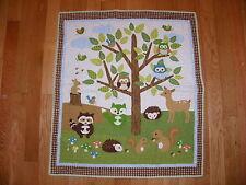 FOREST FRIENDS BABY QUILT~WOODLAND ANIMALS~OWL SQUIRREL BIRD BUNNY DEER RACCOON