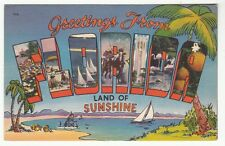 """[62250] OLD LARGE LETTER POSTCARD GREETINGS from FLORIDA """"LAND OF SUNSHINE"""""""