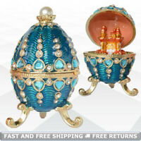 Faberge Egg Shaped Vintage Jewelry Trinket Box Bejeweled Crystals with Surprise