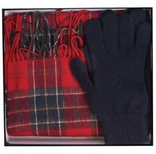 BARBOUR INTERNATIONAL MEN'S LAMBSWOOL TARTAN SCARF AND GLOVES GIFT SET IN RED