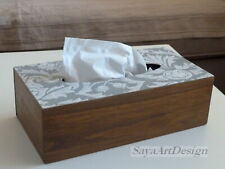 Tissue Box Cover. Wooden Box. Decoupage Napkin box. Bathroom organization