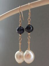 Beautiful Peacock & White Round & Baroque FW Pearls 14ct Rolled Gold Earrings
