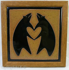 Tile Two Bears Dancing Trading Co Trivet Bear Hands Heart wall hanging Ceramic