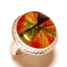 Dichroic Glass Round Gemstone silver plated Handmade Statement Bezel Ring US-8.5
