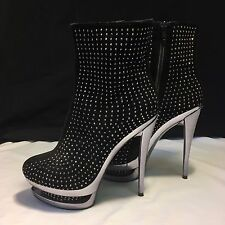 Black Silver Platform Women's size 7.5 shoes High Heel Ankle Boots *Sparkly*