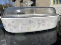 Vtg. Corning Ware Pastel Bouquet  A-10-B  2.5qt Casserole Dish w/Pyrex A12C Lid