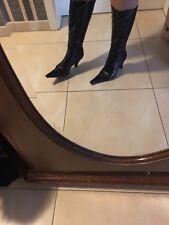Winter Stiefel Schuhe Gr 36 Mit Kunstpelz Innen,  Lack Leder Kroko Details