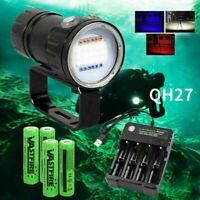 White/Blue/Red 27 LED Scuba Diving Flashlight Underwater Photography Video Torch
