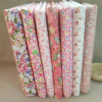 """New 7 Assorted Pink Pre Cut 10"""" Squares Quilting Cotton Fabric"""