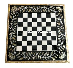 """24""""  Marble Coffee Chess Table Top Golden Mother Of Pearl Inlay Home Decor B005"""