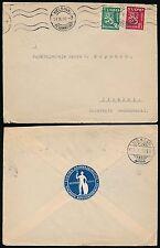 FINLAND 1932 SEAL BAR ASSOCIATION LAWYER IISALMI + HELSINKI MACHINE CANCEL