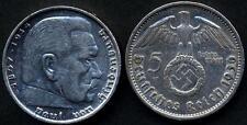 GERMANY Third Reich 5 Reichsmark Swastika AG 1936A