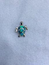 NEW STERLING SILVER & OPAL STONE NAUTICAL LOGGERHEAD TURTLE SMALL SIZE PENDANT