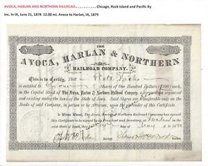Stk Avoca, Harlan & Northern RR 1880 Iowa  A Chi, RRI &P RR ran 4.62 miles