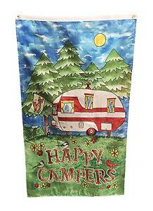 5 feet x 3 feet HAPPY CAMPERS FLAG with EYELETS caravan camping motorhome boat