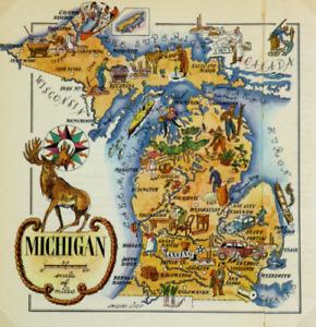 Michigan Antique Vintage Pictorial Map  (Postcard size)