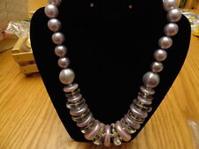 VINTAGE COSTUME JEWELRY MADE IN ITALY NECKLACE LILAC LARGE BEADS