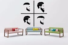 Vinyl Wall Decal Sticker Hipster Salon Signboard Barber Shop Beard Logo F1263