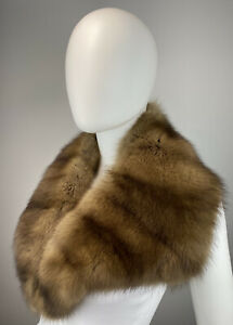 Golden RUSSIAN Sable Real Fur Scarf Coat Collar Wrap Stole Mens or Women's